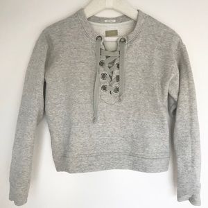 Lace up Grey Sweatshirt by Mother